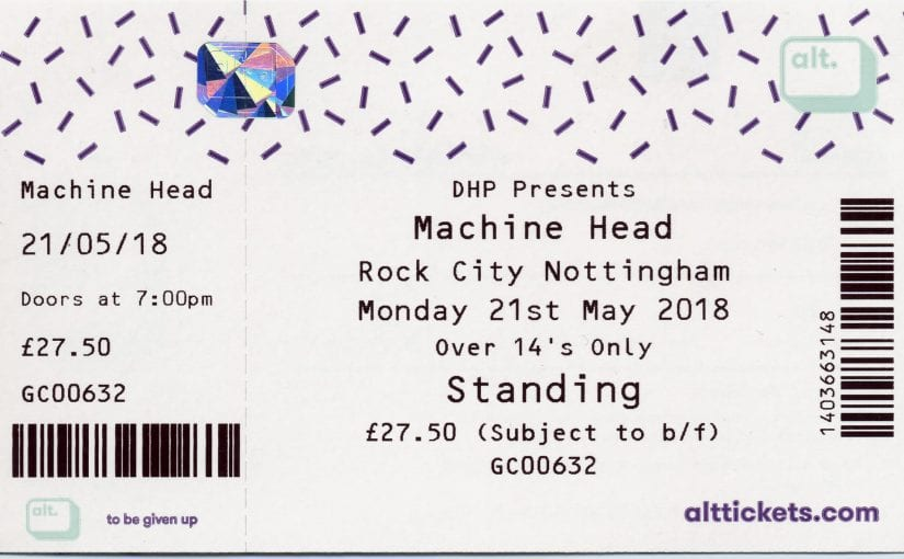 MACHINE HEAD Rock city, Nottingham, 21-5-18